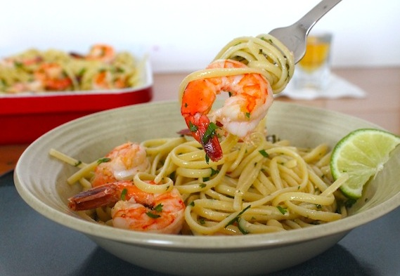 Tequila Lime Shrimp Scampi Linguini recipe