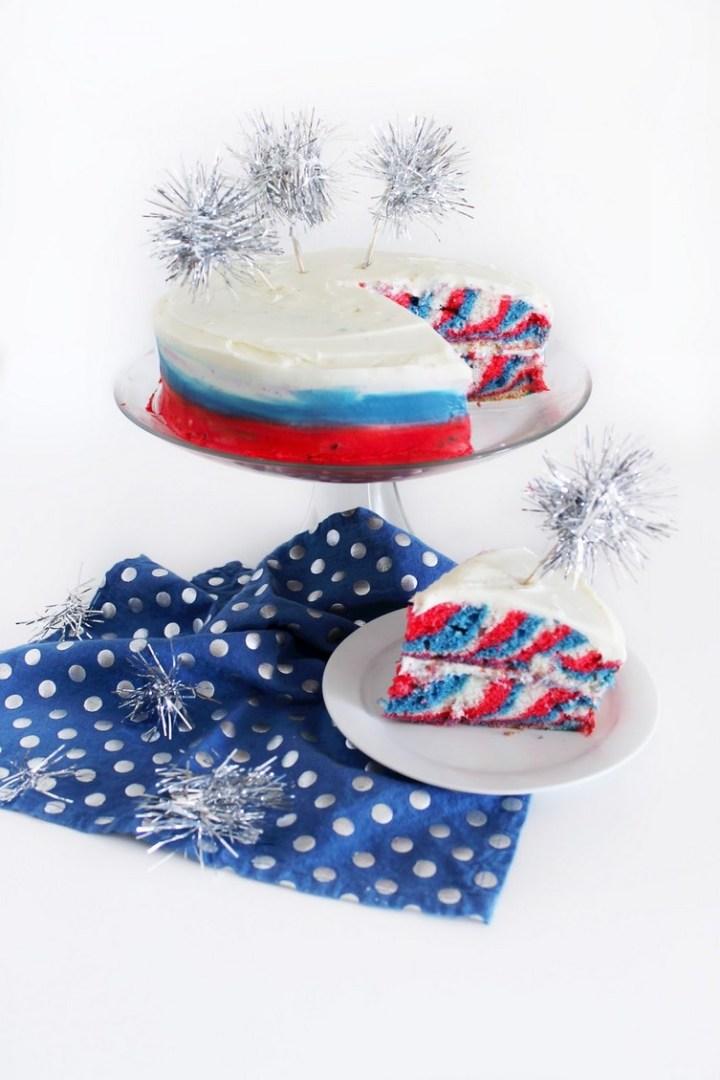 4th of July Tie-Dye Cake