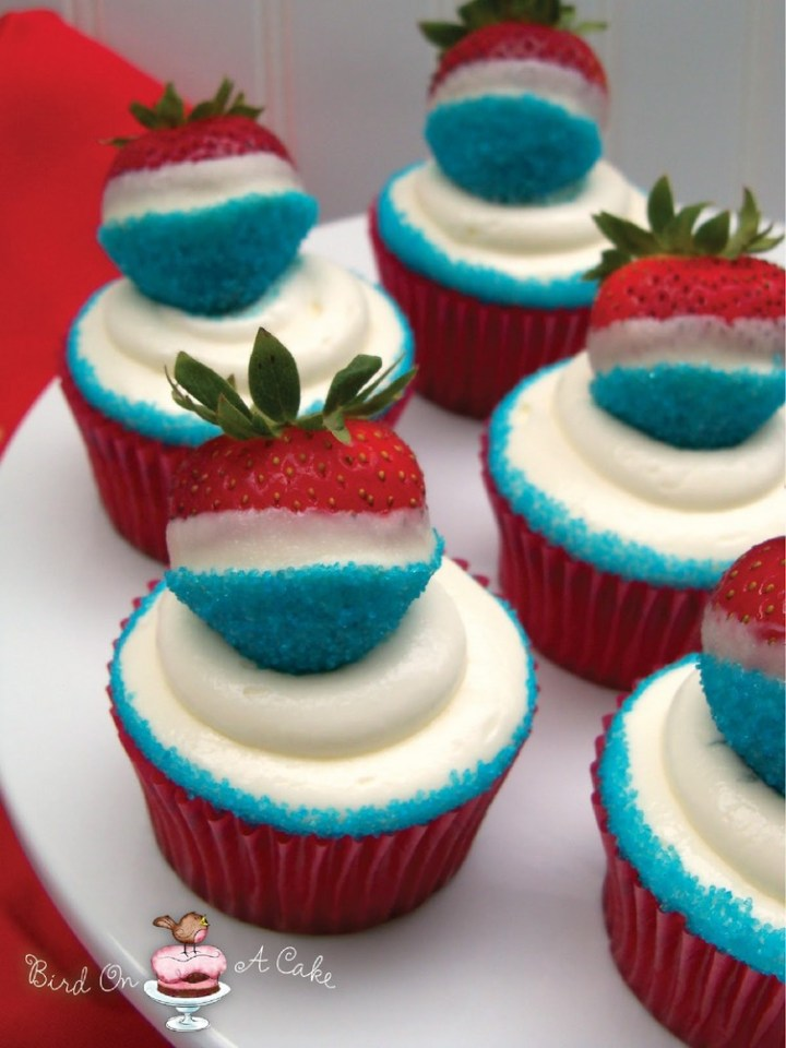 Red, White and Blue Strawberry Cupcakes