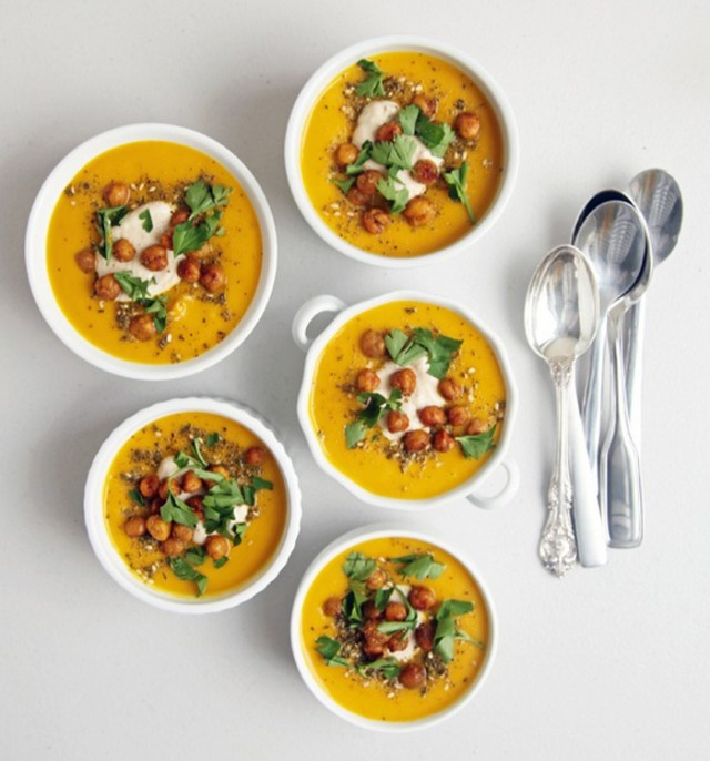 spiced-carrot-soup-with-roasted-chickpeas-and-tahini-recipe-from-yumsugar