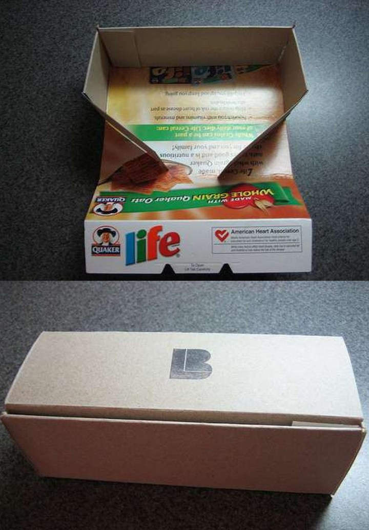 Reuse cereal boxes for impromptu gift packaging