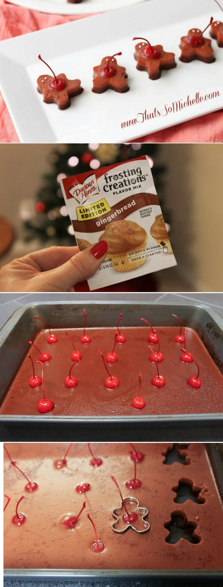 Use gingerbread frosting flavoring to make these adorable gingerbread man Jell-O shots