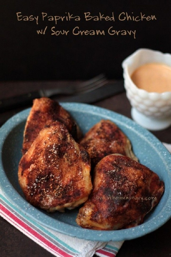 Easy Baked Chicken Paprika with Sour Cream Gravy recipe
