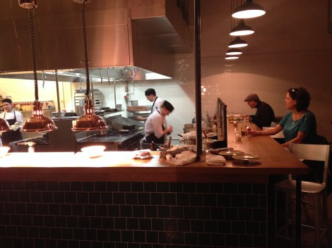 The open kitchen at the Agricola Street Brasserie