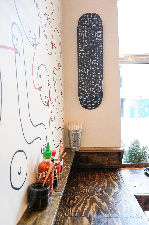 Skateboard Art at Bad Bones Ramen.The Food Girl in Town