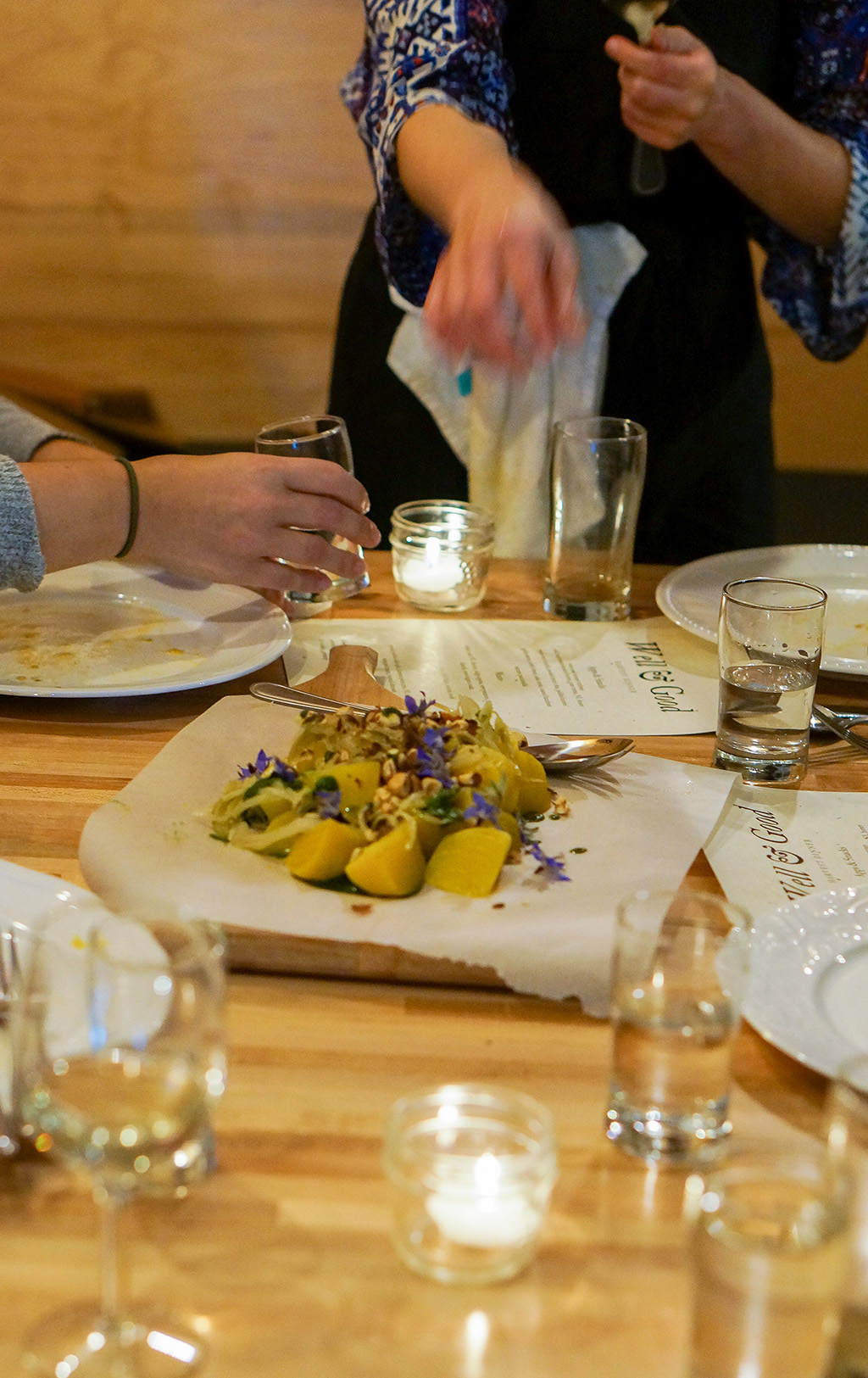 Well and Good Dinners.Golden Beets On Table.TheFoodGirlinTown