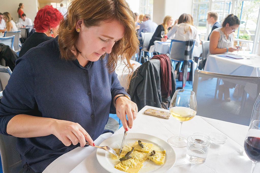 the seventh blogiversary: gabby eating at Tjhe River Cafe in London
