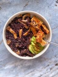 black rice bowl mushrooms