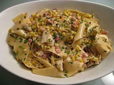 Cook Once, Eat Twice: Pappardelle with Corn, Lobster, Pancetta and Crème Fraiche
