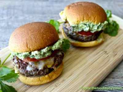 Dining with the Doc: Chipotle Burgers with Avocado Crema and Sauteed Summer Corn