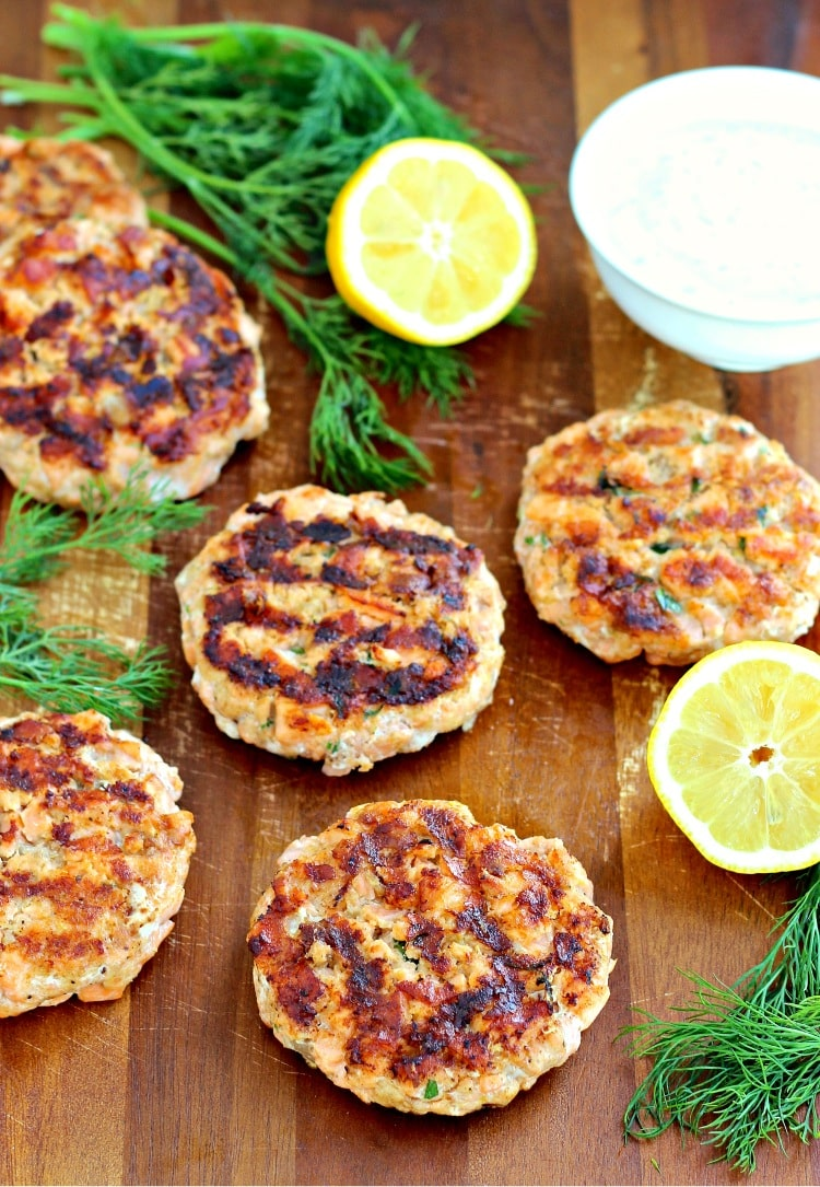 Salmon Burgers with Dill Yogurt Sauce | The Foodie Physician
