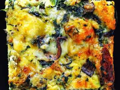 Dining with the Doc: Spinach, Mushroom and Gruyere Strata