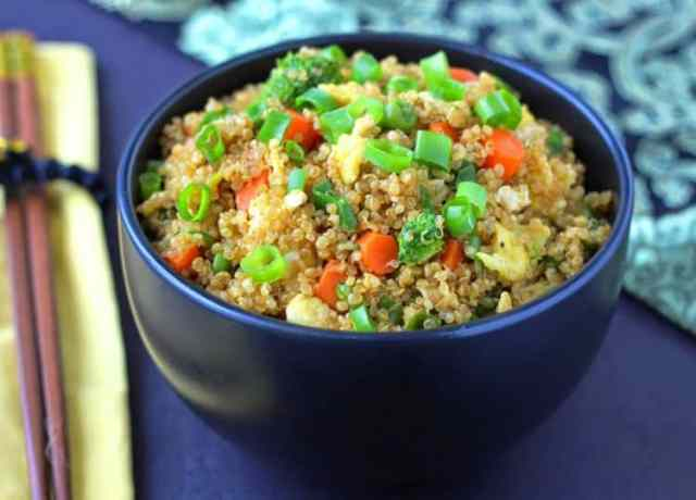 """Quinoa Fried """"Rice""""- protein-packed quinoareplaces white rice in this healthier version of the classic Chinese dish. 