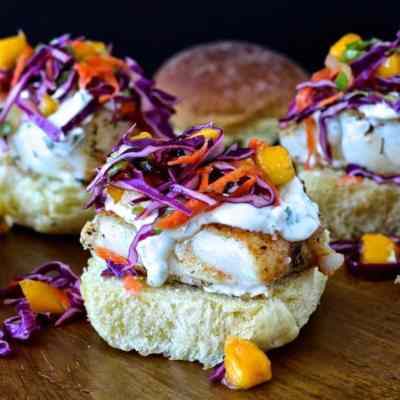 Dining with the Doc: Spiced Cod Sliders with Mango Confetti Slaw and Cilantro Aioli