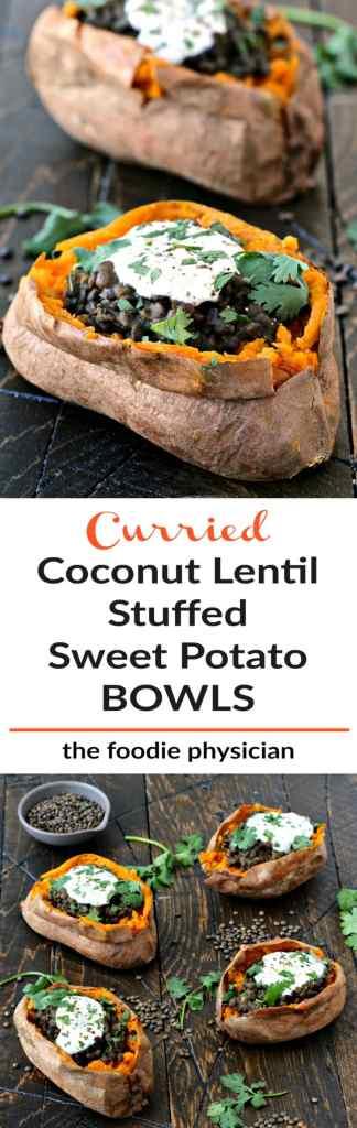 Curried Coconut Lentil Stuffed Sweet Potato Bowls