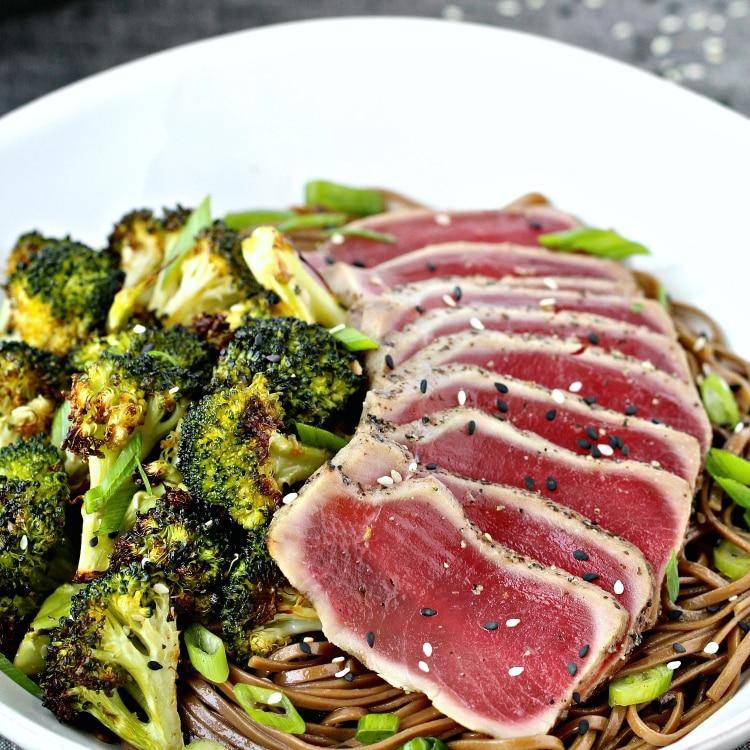 Seared Tuna with Soba Noodle & Sesame Roasted Broccoli | @foodiephysician