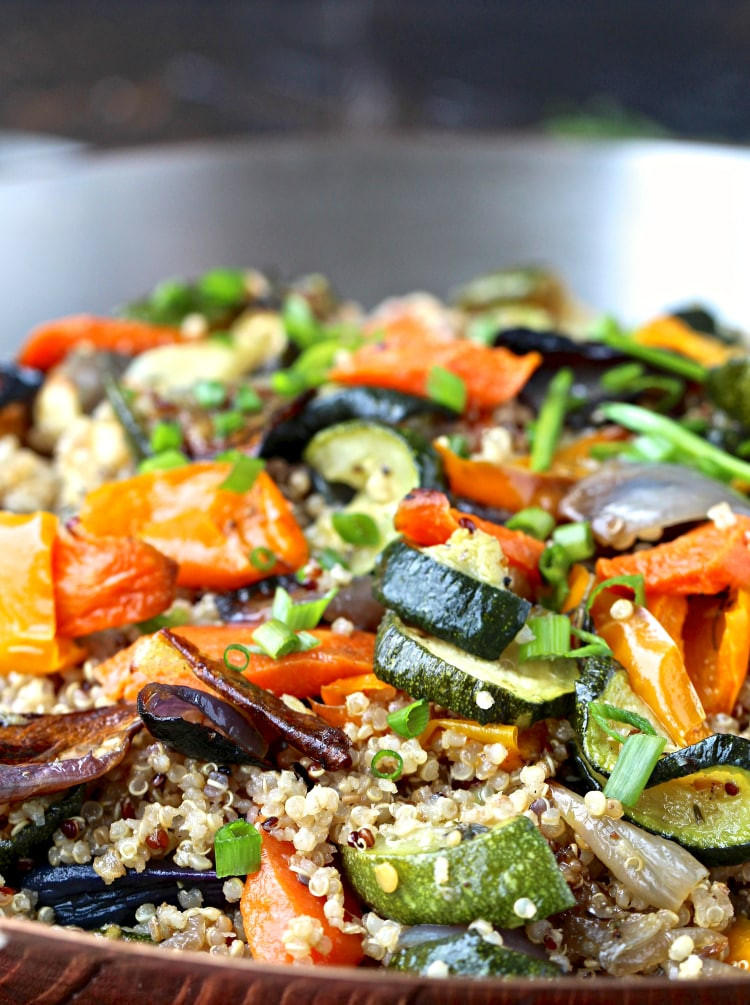 Quinoa with Roasted Vegetables- start the year off right with this nutritious quinoa dish that's packed with color and flavor. | @foodiephysician