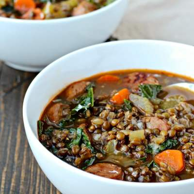 Lentil Soup with Sausage and Greens | @foodiephysician