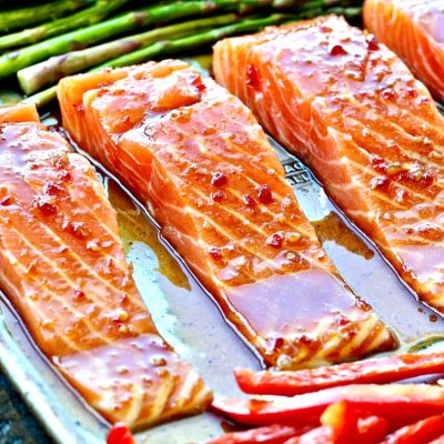 Sheet Pan Salmon with Sweet Chili Sauce [video]