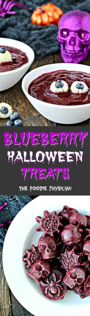 Celebrate Halloween with these spooky blueberry Halloween treats including Blueberry Eyeball Soup and Frightening Frozen Blueberry Bites! | @foodiephysician
