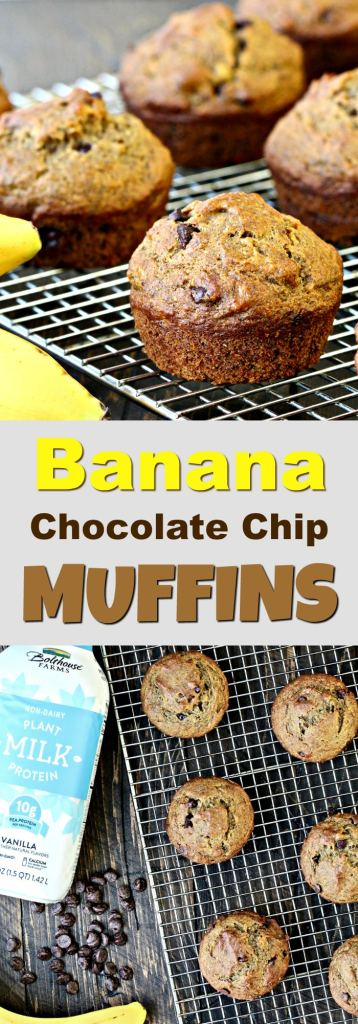 All of the flavors of banana bread packed into little muffins! These Banana Chocolate Chip Muffins are the perfect portable breakfast or snack.