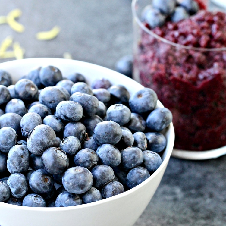 Blueberry Granita with Coconut Whipped Cream