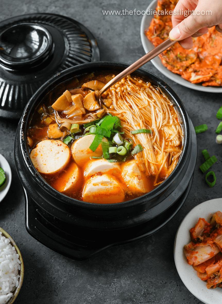 Sundubu Jjigae Or Korean Soft Tofu Stew Vegan Recipe The Foodie Takes Flight