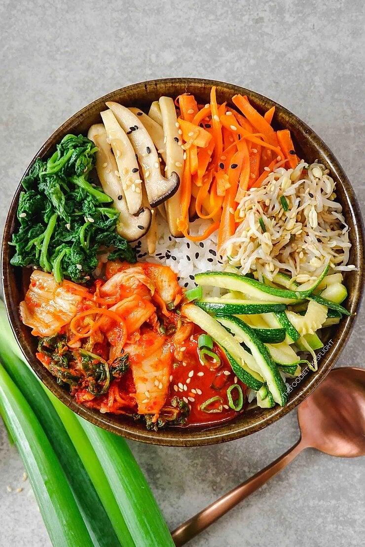 Vegan Korean Bibimbap Mixed Rice Bowl With Gochujang Sauce The Foodie Takes Flight
