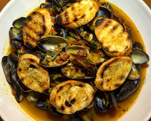 Chorizo & Saffron Mussels and Clams