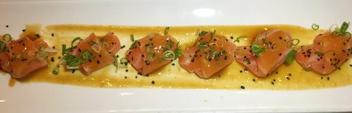 Saiko Sake & Sushi, Smoked Scottish Salmon sashimi