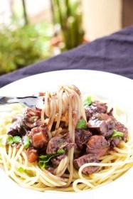Boeuf bourguignon on pasta