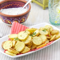 Roasted rosemary and thyme potatoes with tzatziki parsley dip