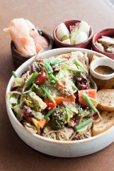 Buckwheat Noodles, Confit Mushrooms, Pickles Vegetables with Smoked Salmon
