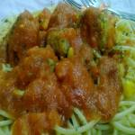 Spaghetti with Corn Balls in Tomato Sauce