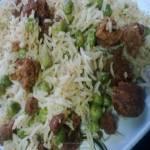 Matar-Wadi Chawal(Peas and Lentil Dumplings with Rice)