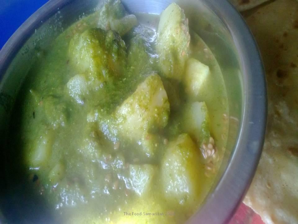 Chutney wale Aloo(Potatoes stir-fried in India's famous Coriander Chutney)