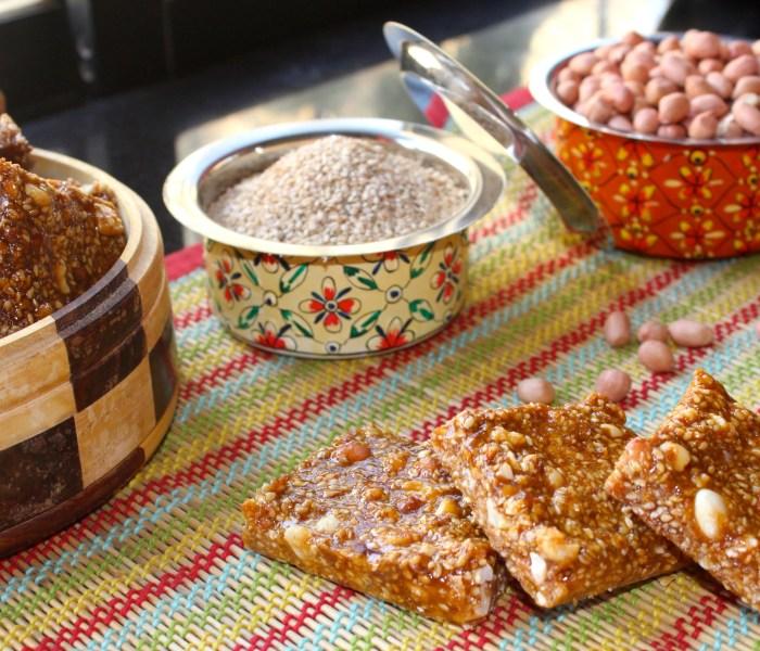 Peanut and Til Chikki(Peanut Brittle with Sesame seeds)