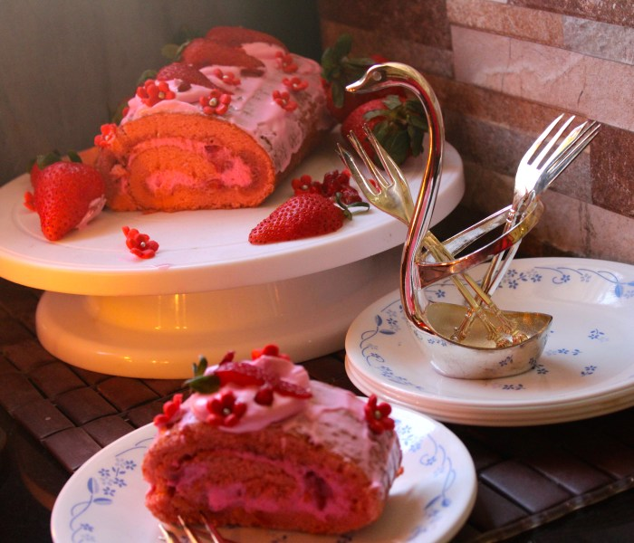 Strawberry and Pomegranate Swiss Roll