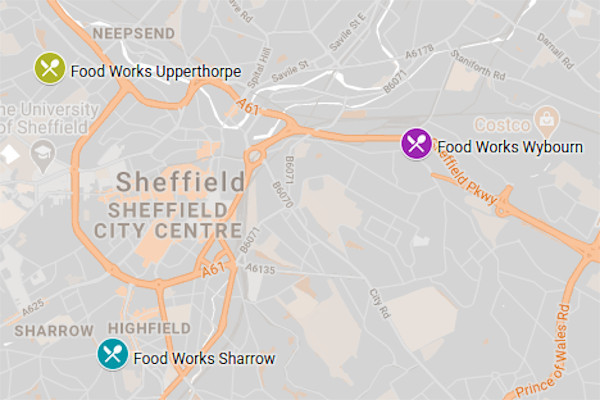Food Works Sheffield Map
