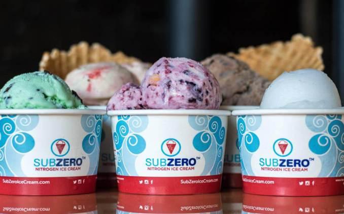 Sub Zero Ice Cream menu