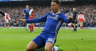 Eden Hazard celebrates after scoring a phenomenal goal against Arsenal