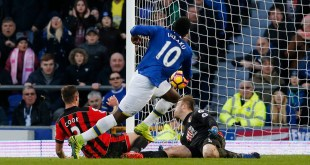 Romelu Lukaku scoring 1 of his 4 goals against Bournemouth in the Premker League