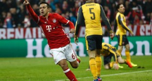 Thiago wheels away in celebration as Bayern Munich beat Arsenal 5-1.