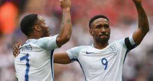 Jermain Defoe celebrates scoring for England, four years after his last appearance for his country.