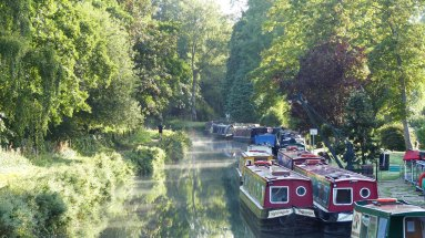 Catteshall lock houseboats.