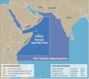 Map of the High Risk Area (HRA) for Piracy