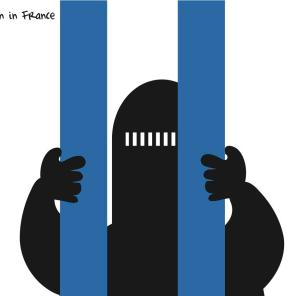 Charicature on the niqab ban in France, 2011 (Source: Khalid Albaih / flickr)