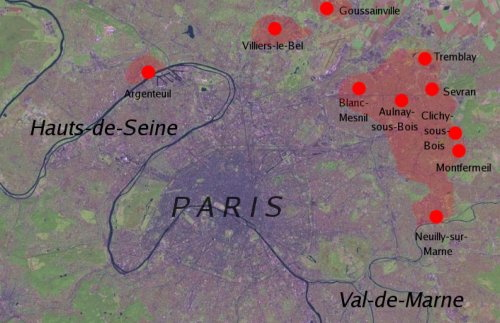 Satellite map of the 2005 riots in the segregated suburbs of Paris (Source: Dbachmann / Wikipedia)