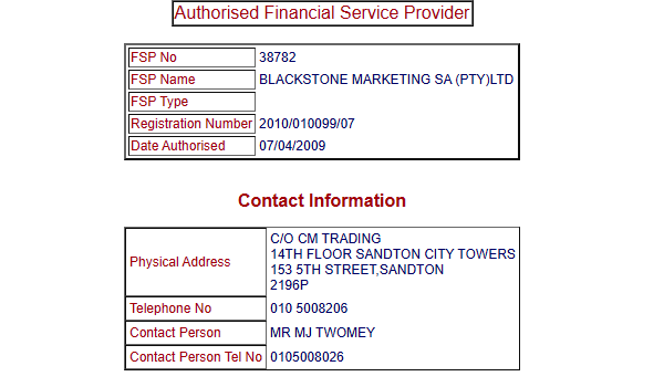 CMTrading FSCA License