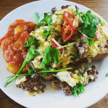 harissa scrambled eggs, sourdough